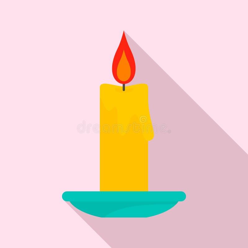 Brinnande stearinljussymbol, lägenhetstil stock illustrationer