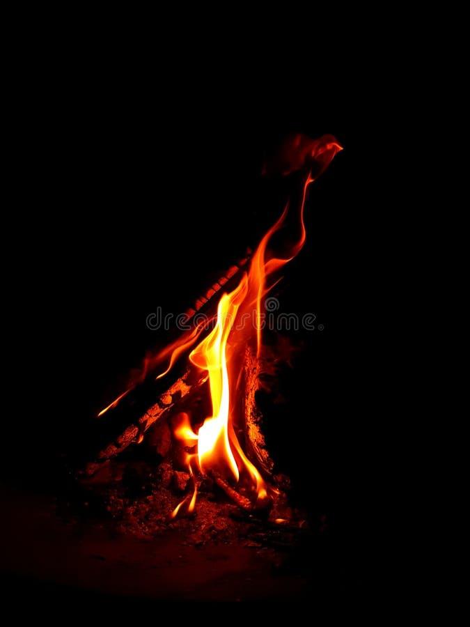 Brinnande trä i mörkret arkivfoton