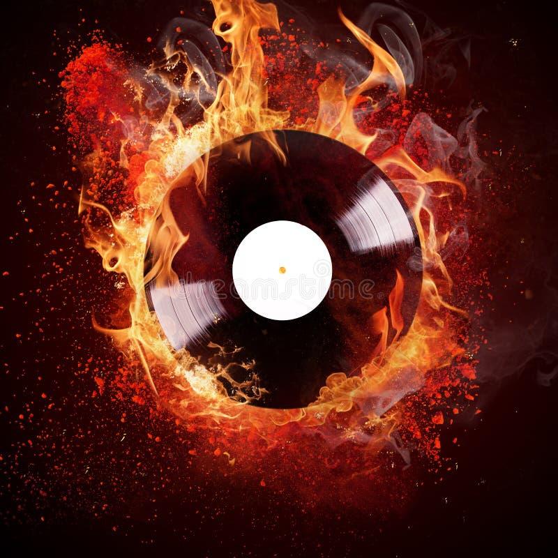 Brinnande vinyldiskett vektor illustrationer