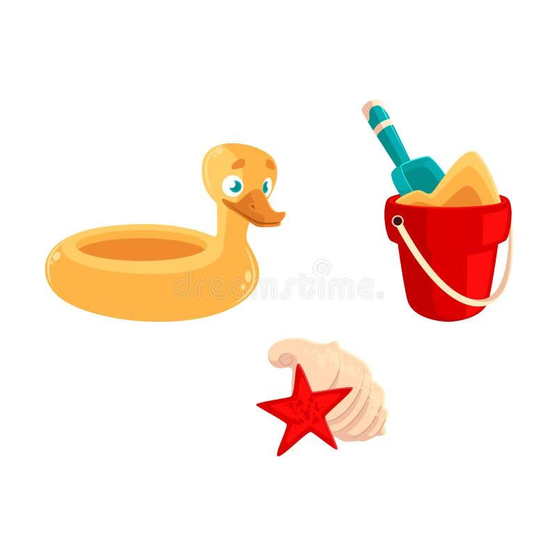Brinque a cubeta, pá, anel de borracha do pato, shell do mar ilustração do vetor