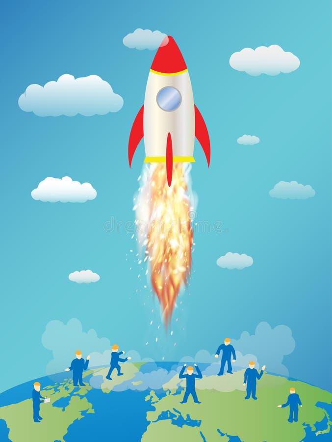 Brinque o lançamento de foguete do espaço e o mini trabalhador na terra ilustração do vetor