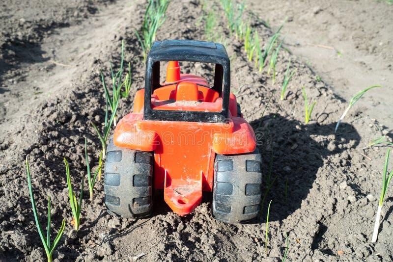 Brinque o trator entre plantas verdes no campo para cultivar imagens de stock