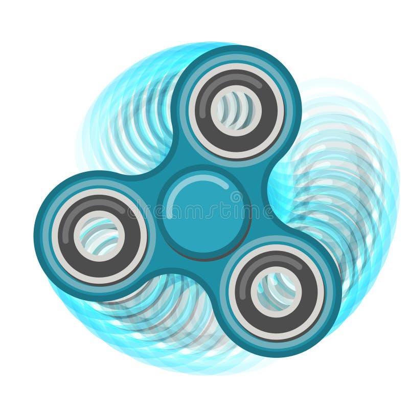 Brinquedo azul do vetor da cor do girador da inquietação da mão do movimento ilustração stock