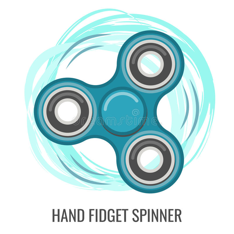 Brinquedo azul do vetor da cor movente do girador da inquietação da mão ilustração royalty free