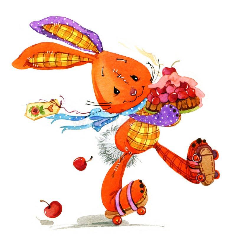 Brinquedo bonito do coelho dos desenhos animados ilustração do vetor