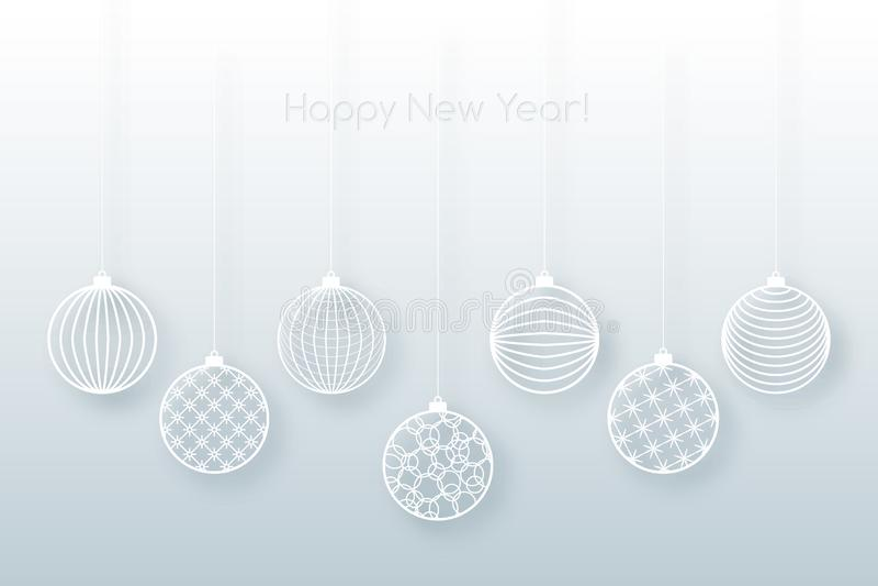 Brinquedo branco da bola do fundo do Natal em um fundo festivo do fundo azul para o teste padrão do Natal e do ano novo da linha  ilustração stock
