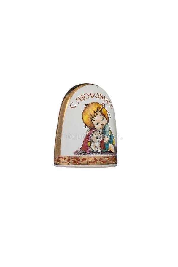 Brinquedo cerâmico da lembrança com pintura da cor no fundo branco isolado fotos de stock royalty free