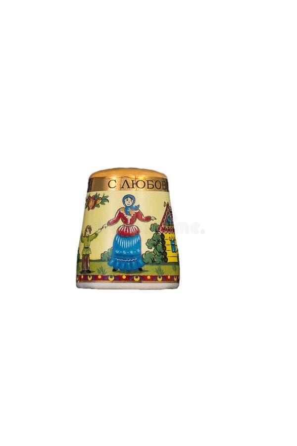 Brinquedo cerâmico da lembrança com pintura da cor no fundo branco isolado imagem de stock royalty free