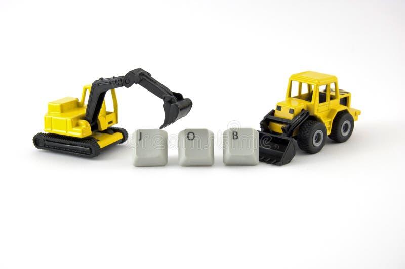 Brinquedo da máquina escavadora e da escavadora com trabalho da palavra fotografia de stock