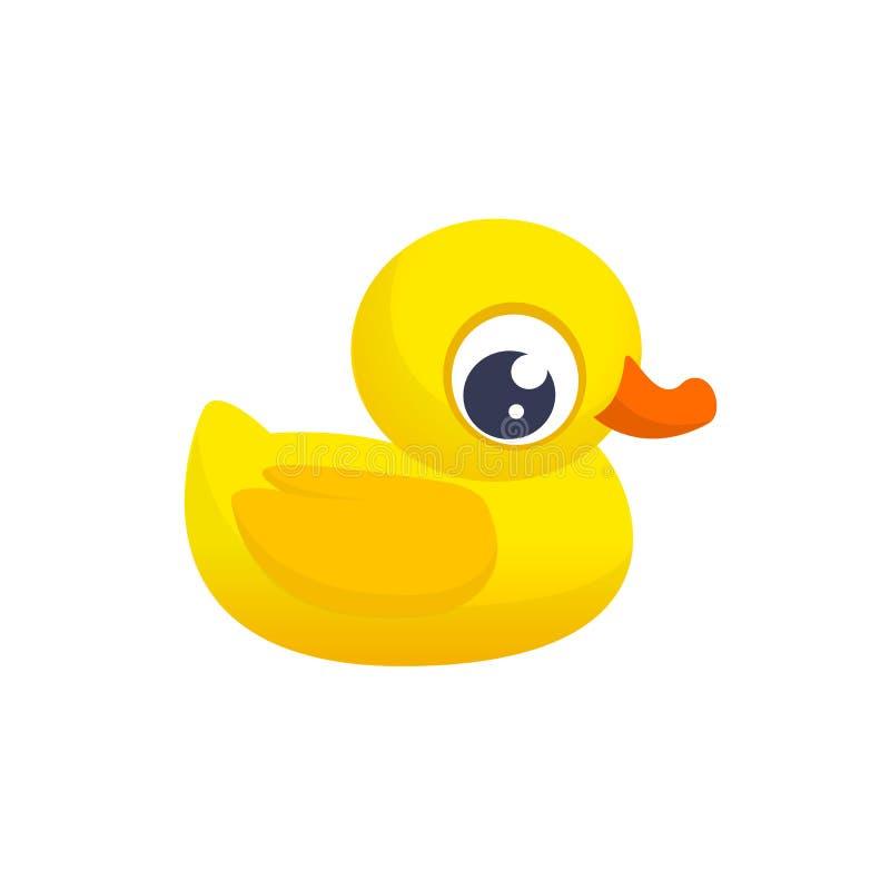 Brinquedo de borracha do pato Ícone liso da cor de Minimalistic Símbolo do pictograma Ilustração ducky do vetor dos desenhos anim ilustração do vetor