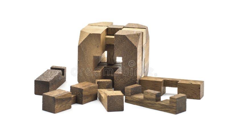 Brinquedo de madeira cúbico fotografia de stock royalty free