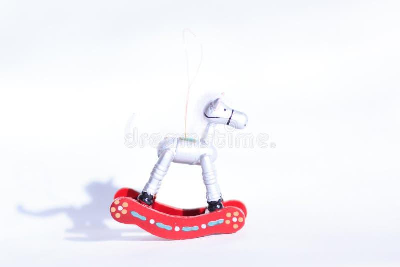 Brinquedo de madeira do Natal - cavalo fotos de stock royalty free