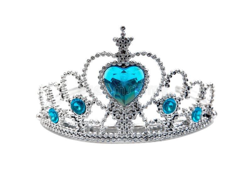 Brinquedo de prata plástico da tiara isolado no fundo branco Coroa do brinquedo isolada imagem de stock