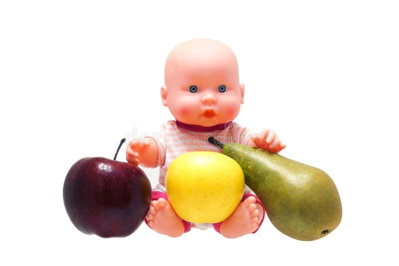 Brinquedo do bebê com fruto. imagens de stock royalty free