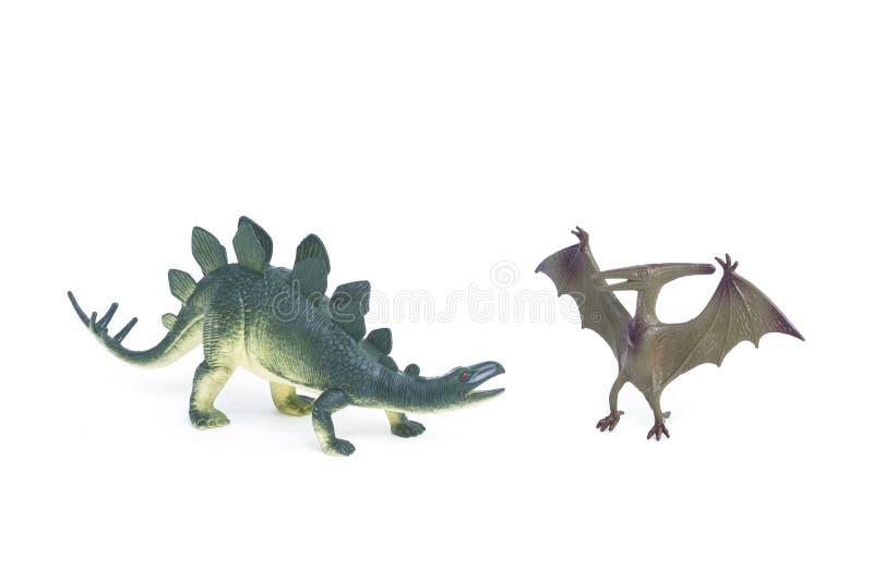 Brinquedo do dinossauro do Triceratops e do Stegosaurus fotos de stock royalty free