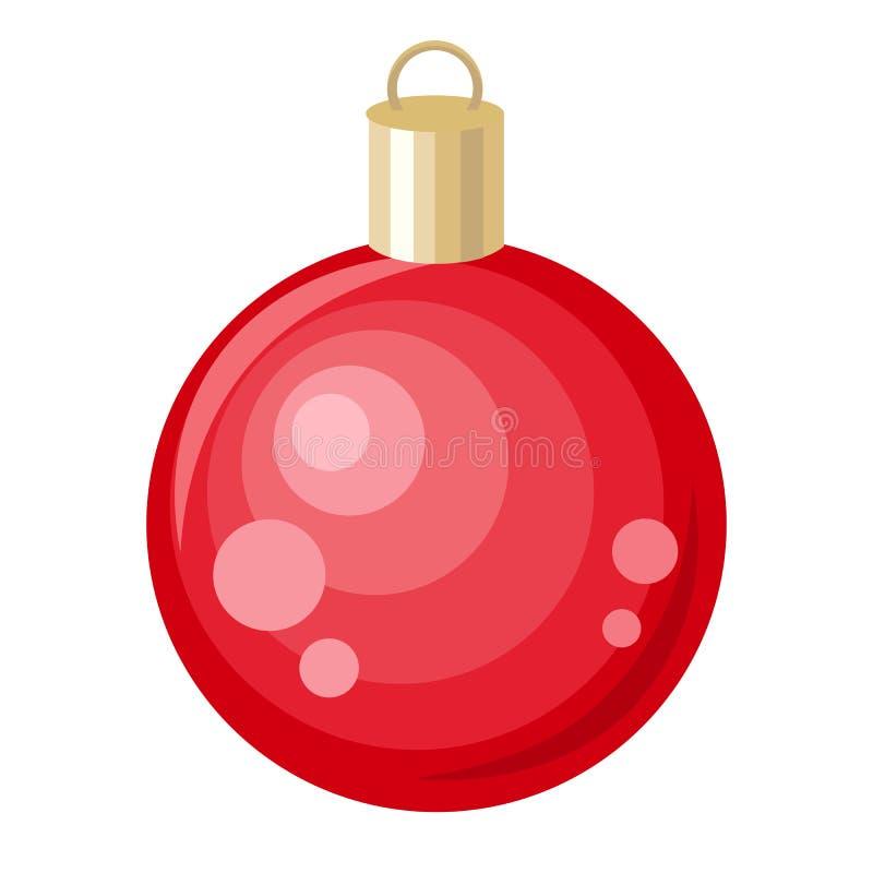 Brinquedo do vermelho da árvore de Natal Projeto liso do estilo Vetor ilustração do vetor