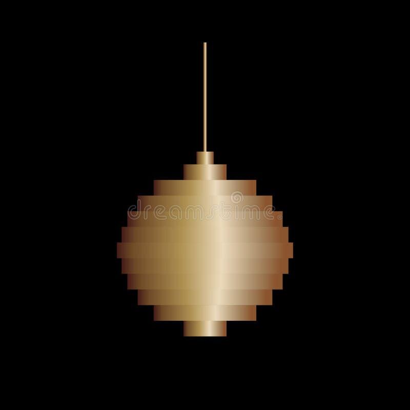 Brinquedo dourado da bola da árvore de Natal da arte do pixel do vetor Projeto minimalista ilustração do vetor