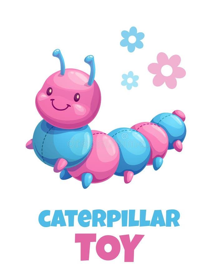 Brinquedo enchido dos desenhos animados lagarta bonito Ícone do brinquedo do luxuoso do bebê do vetor ilustração royalty free