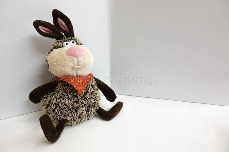 Brinquedo enchido hare Em um fundo branco fotos de stock royalty free