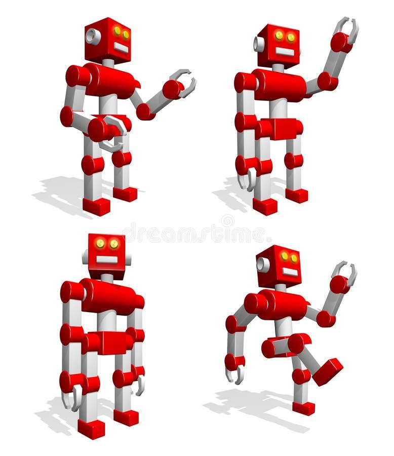 brinquedo engraçado do robô 3d em várias poses - dá boas-vindas, vai, move suas mãos, suportes ilustração royalty free