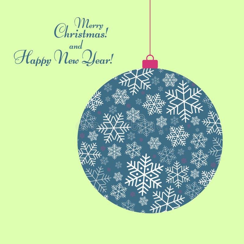 Brinquedo estilizado da bola com um teste padrão do texto dos flocos de neve do fundo festivo do ano novo feliz e do inverno do N ilustração do vetor