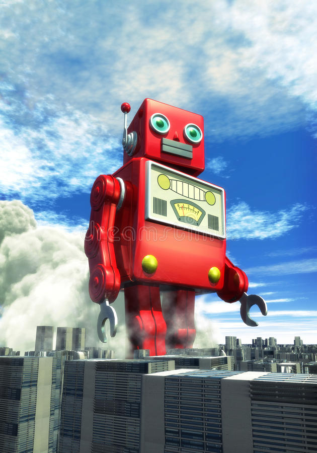 Brinquedo gigante do estanho do robô ilustração stock
