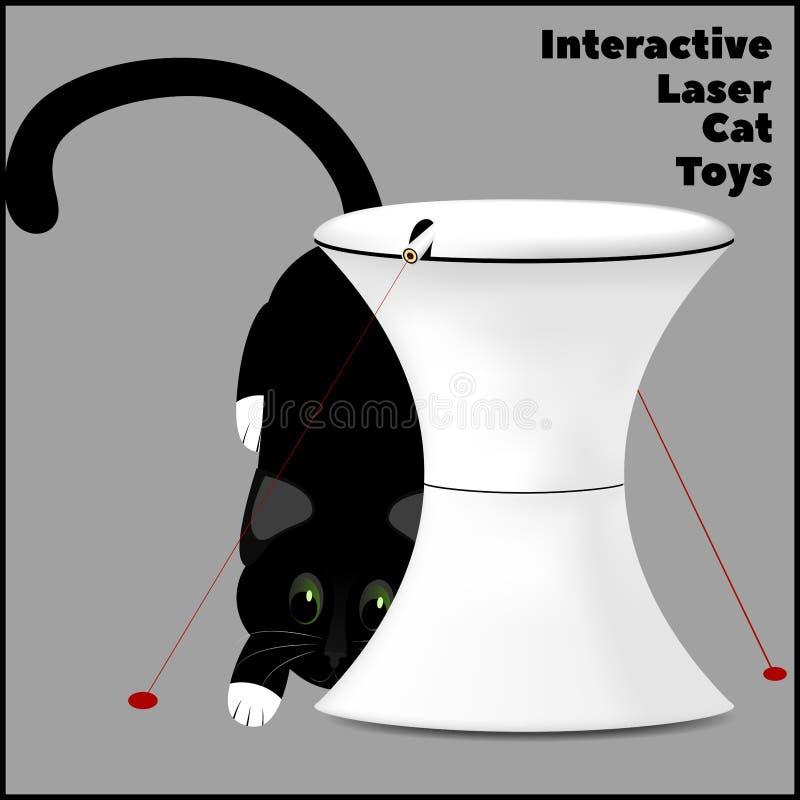 Brinquedo interativo do laser para gatos e um gato que joga com um laser ilustração stock