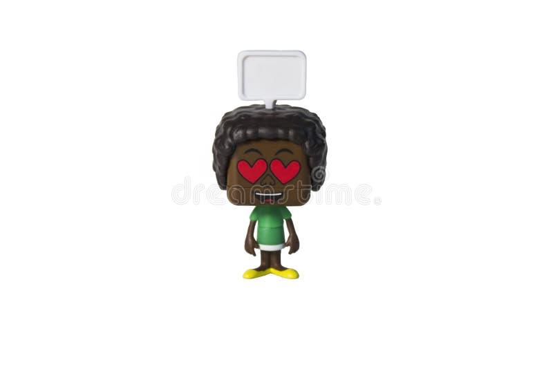 Brinquedo isolado do homem negro, emo??o imagem de stock