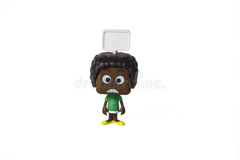 Brinquedo isolado do homem negro, emo??o imagens de stock