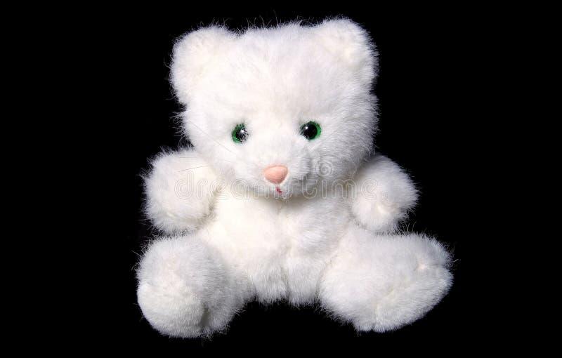 Brinquedo macio do gato branco imagens de stock royalty free