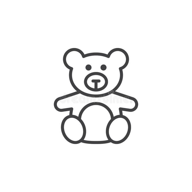 Brinquedo macio, linha ícone do urso de peluche, sinal do vetor do esboço, pict linear ilustração royalty free