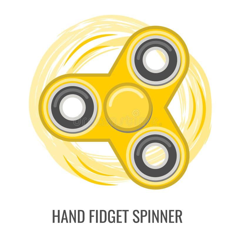 Brinquedo movente do vetor do amarelo da cor do girador da inquietação da mão ilustração stock