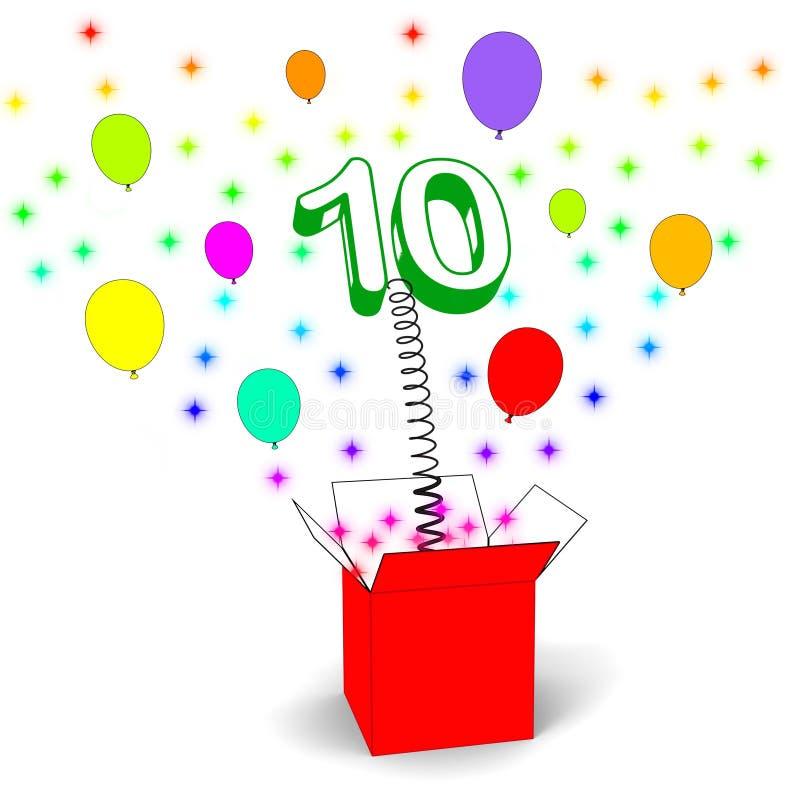 Brinquedo numérico das mostras da caixa da surpresa do número dez ilustração do vetor