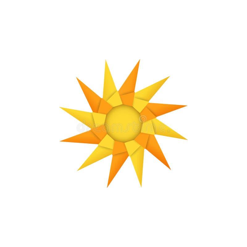 Brinquedo ou sol modular isolado do girândola do origâmi no fundo branco Estilo do papel e do ofício ilustração royalty free