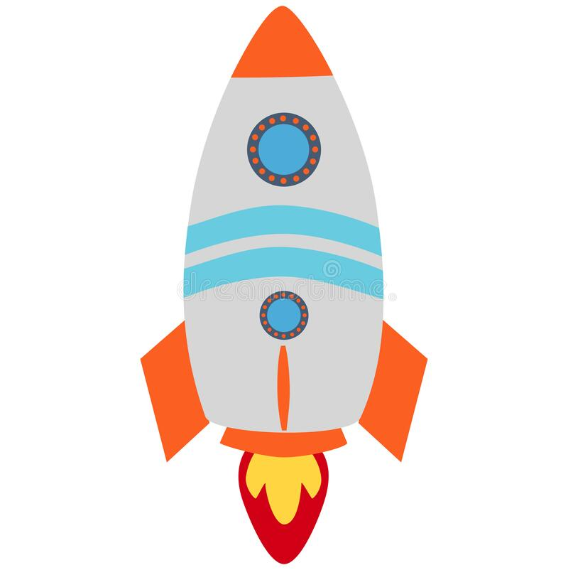 Brinquedo para crianças, ícone plástico de objetos de foguete fotografia de stock royalty free