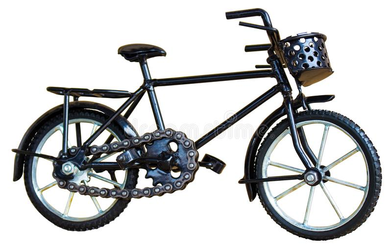 Brinquedo preto da bicicleta isolado no branco imagens de stock royalty free