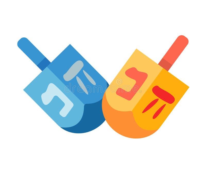 Brinquedo tradicional para crianças - dreidel do quadrilátero, para jogos no Hanukkah ilustração royalty free