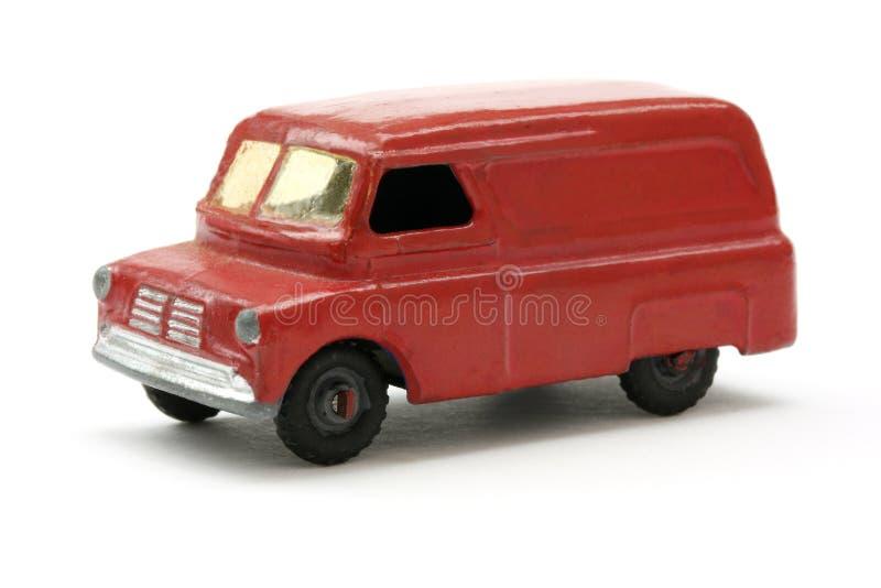 Brinquedo Van vermelho retro dos anos 50 e dos anos sessenta fotos de stock royalty free