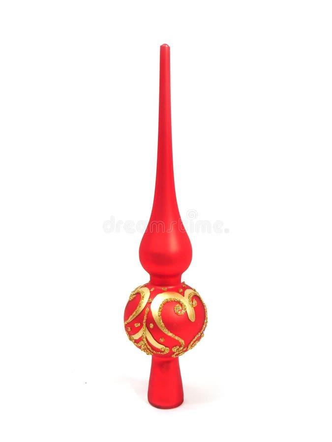 Brinquedo vermelho do Natal para a parte superior da pele-árvore no branco imagens de stock royalty free