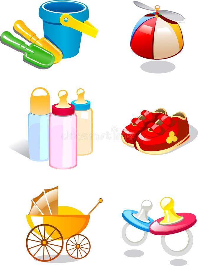 Brinquedos ajustados do bebê do ícone ilustração stock