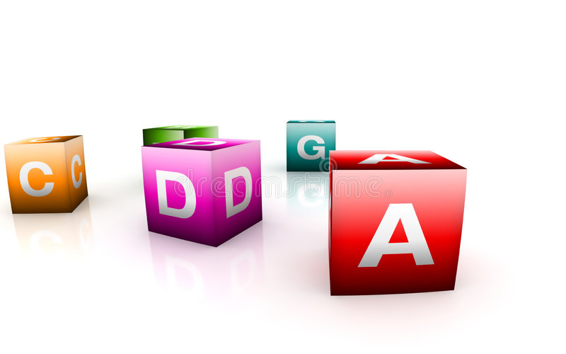 Brinquedos alfabéticos na forma do cubo ilustração stock