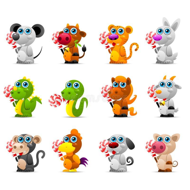 Brinquedos animais do horóscopo chinês com doces de açúcar ilustração do vetor