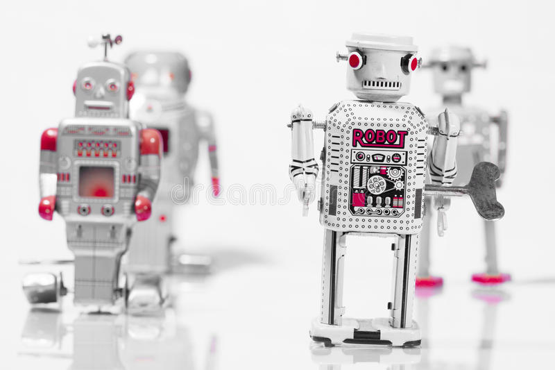Brinquedos clássicos do robô imagens de stock