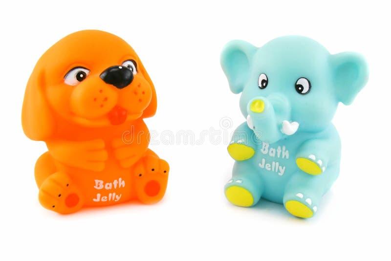 Brinquedos coloridos com geléia do banho para dentro imagem de stock