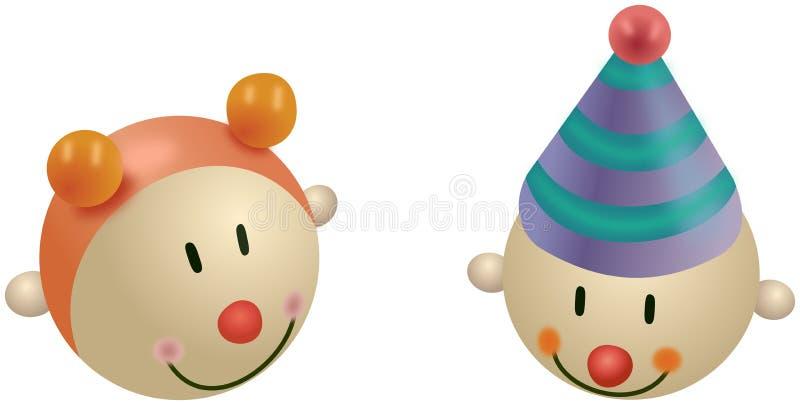 Brinquedos coloridos pequenos da menina e do palhaço ilustração stock