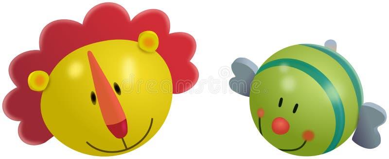 Brinquedos coloridos pequenos do leão e dos peixes ilustração royalty free