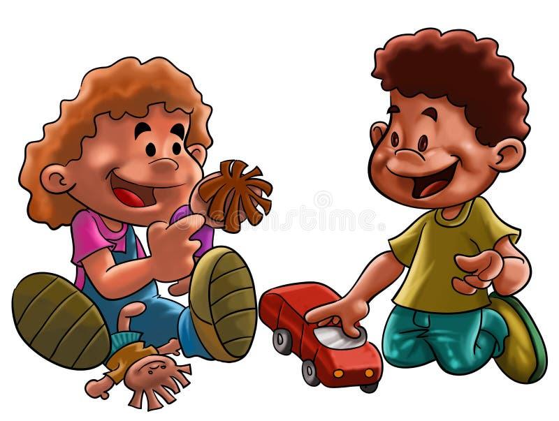 Brinquedos da menina e do menino ilustração royalty free
