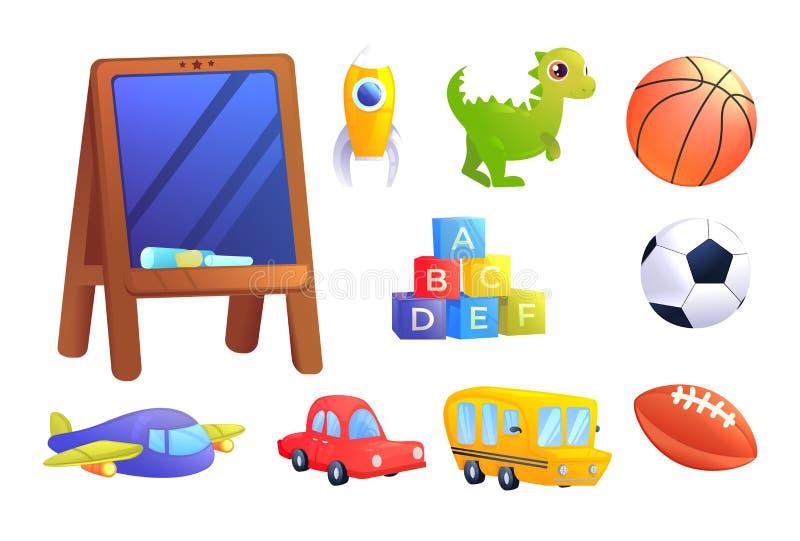Brinquedos das crianças ajustados Um carro, ônibus, avião, dinossauro, cubos com letras do alfabeto, bola dos esportes para o jog ilustração royalty free
