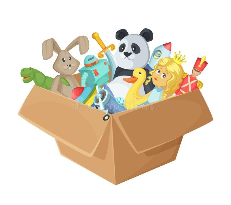 Brinquedos das crianças na caixa de cartão Isolado engraçado da ilustração do vetor no fundo branco ilustração royalty free