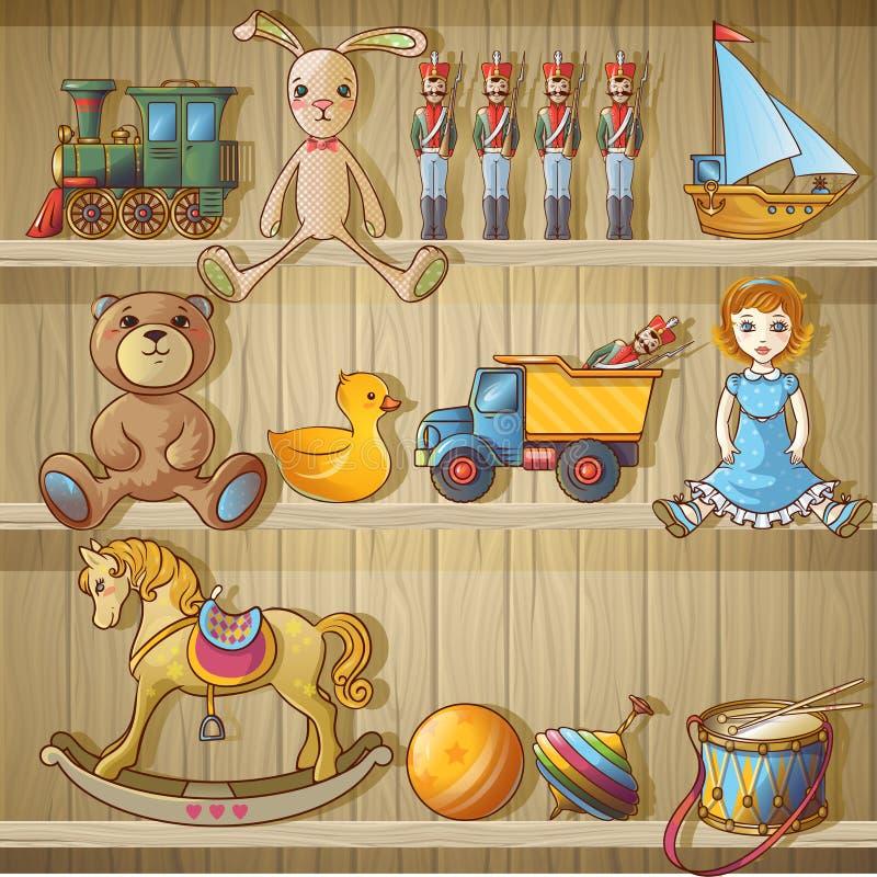 Brinquedos das crianças na composição das prateleiras ilustração do vetor